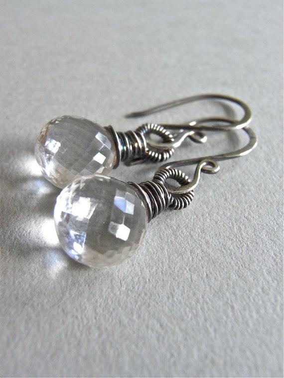 Earrings - sterling silver, oxidised, rock crystal quartz, gemstone, teardrop - Leda