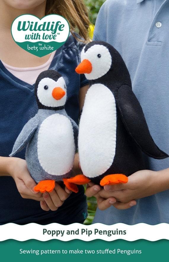 Poppy and Pip stuffed felt penguin PDF pattern