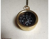 Gold Brass Compass necklaces, small and large compasses, real working compass on brass chain.