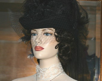 SASS Hat Victorian Hat Steampunk Hat Mourning Hat Gothic Hat - Spirit of Seattle - Black Hat