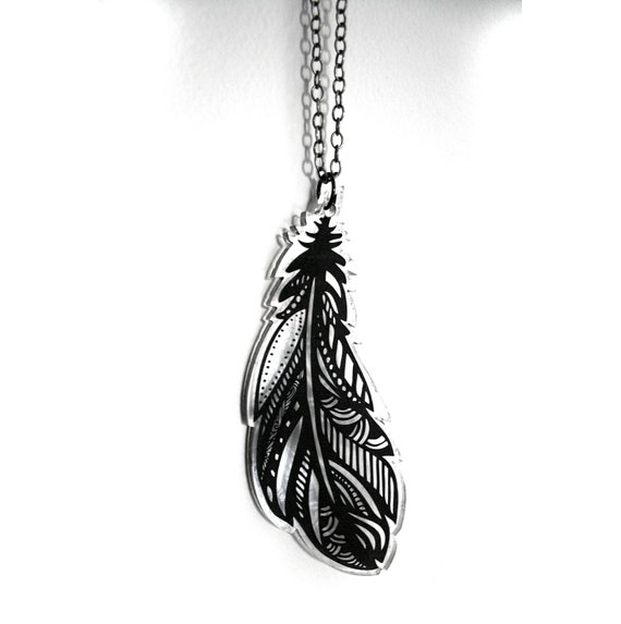 Henna Feather: Clear Laser And Engraved Acrylic Henna Feather By MadLoveShop