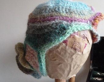 SALE - Handspun yarn hat, freeform crochet for women, wearable art