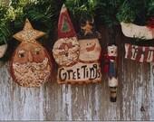 Christmas Primitive Pattern Santa Claus EPattern  PDF Snowman Raggedy Ann Angel Wood Ornaments Rolling Pin by Hickety Pickety 055