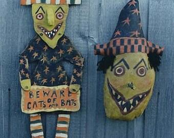 Primitive Halloween Pattern EPattern PDF Witch Pillow Wood Door Hanger Folkart Folk Art  by Hickety Pickety 093