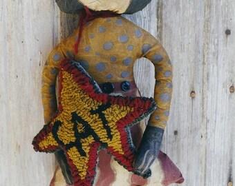 Primitive Cat Doll Pattern EPattern PDF Rug Hook Hooked Star Rughooking Folkart Folk Art Printable  by Hickety Pickety AS9