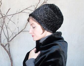 Winter fashion, womens warm hat, faux fur beret, trendy hats, sewn fabric hat, minimalist design,modern millinery, black fur hat : Ballon