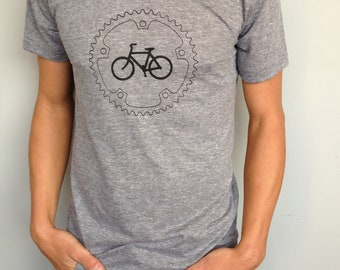 Chainring and Bicycle T-Shirt: Heather Gray Track Tshirt