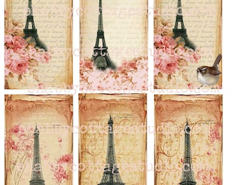 INSTANT DOWNLOAD DIGITAL Collage Sheet Paris Spring French Roses Shabby Chic look  U Print Tags