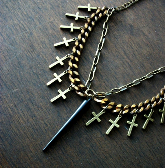 cross spike peter pan collar bib necklace soft grunge goth handmade necklace