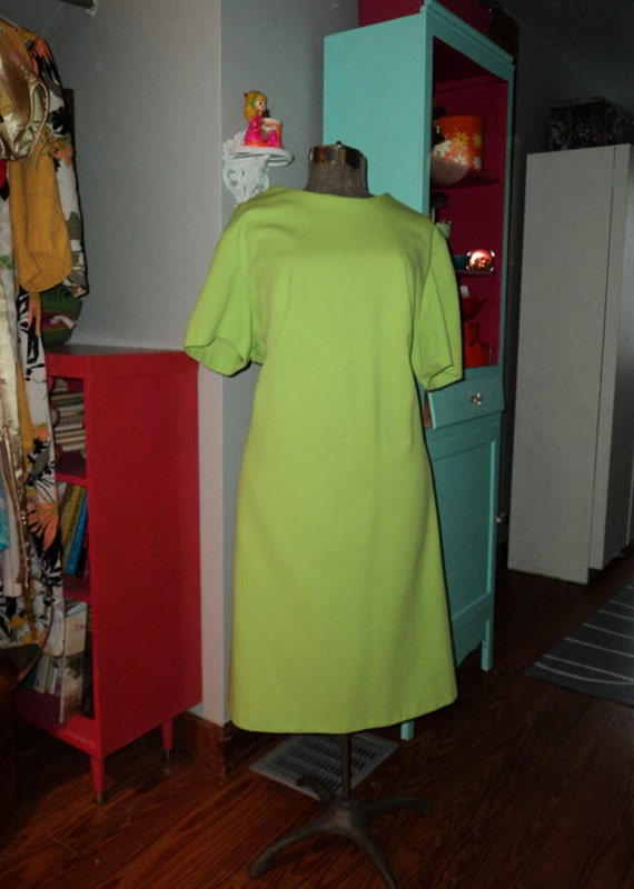 Vintage 60's Lime Green Knit Scooter Dress 2X 3x Plus Size
