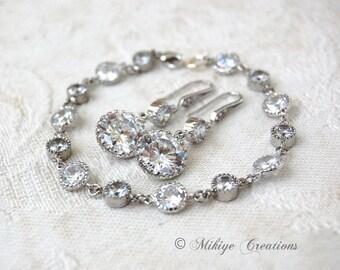 Wedding Jewelry, Bridal Bracelet, Wedding Accessories, Bridal Jewelry, Bridal Bracelet Earrings Matching Set - Petite Dangling Droplets Set