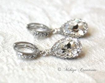 Wedding Jewelry, Wedding Earrings, Bridal Chandelier Swarovski Crystal Cubic Zirconia Drop Earrings -E120