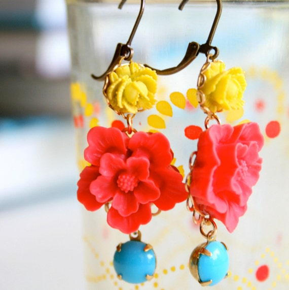 Red and Turquoise Dangle Earrings