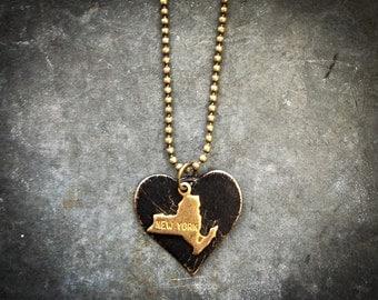 New York Love Necklace, Brass, Black Patina
