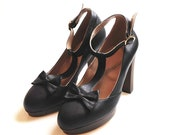Black leather high heels, on sale ready to ship.