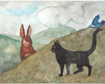 Original Art - The Encounter - Watercolor Rabbit Painting