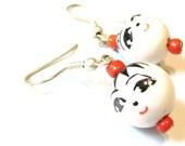 Porcelain Smile Earrings -- Sweet Face Earrings Kawaii Earrings