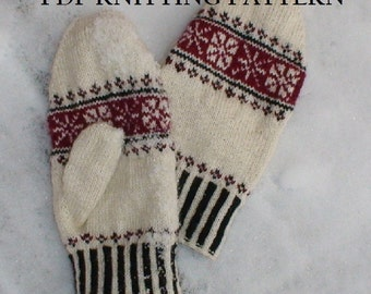 PDF Knitting Pattern - First Frost Mittens