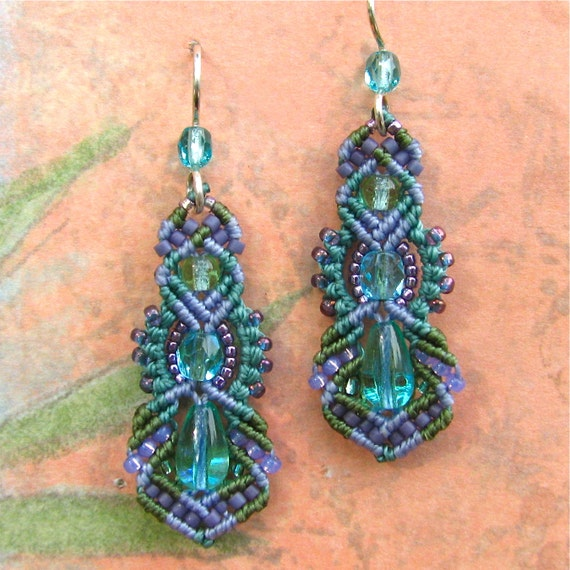 Beaded Macrame Earrings, Micro Macrame Beadwork - Pastels, Kera style