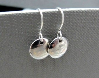 Tiny Silver Circle Drop Earrings // Silver Round Circles // Silver Earrings // Modern Gift under 15