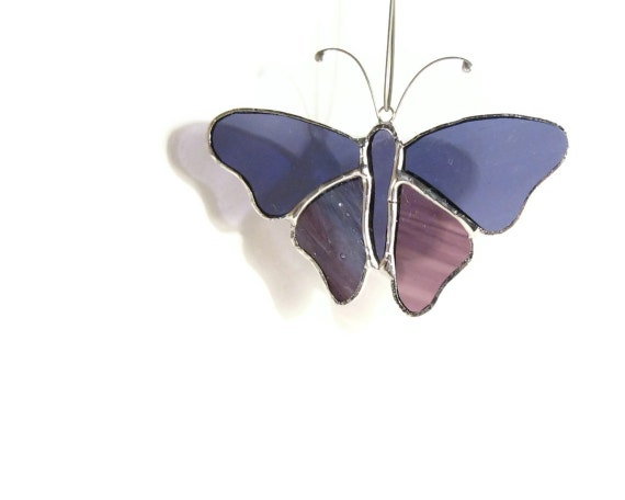 Purple Butterfly Mobile Ornament, Window Cling, Cute Gift, Stained Glass, Butterfly Wings, Sun Catcher, Handmade Butterfly, Home Decor