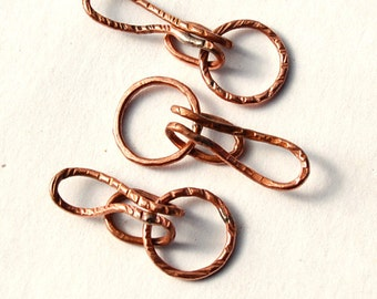 Hooked / Handmade Copper Hook and Eye Clasp Set / made when ordered