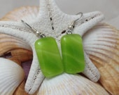 Lime Green - Fused Glass Jewelry - Dangle Earrings - Surgical Steel - Fused Glass