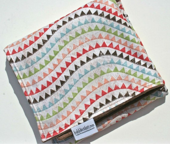 Vintage Pennant Baby Blanket  - Personalized Baby Gift - Minky Girl Blanket