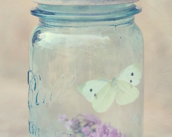 Fine Art Photo, Butterfly Art, Butterfly Photo, Blue Mason Jar, Purple Flowers, Pastel, Wall Art, Dainty, Cottage Garden Art, Fine Art Print