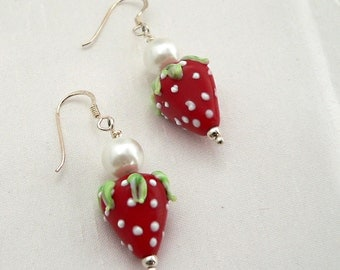 Strawberry and Pearl Earrings, lampwork earrings, silver earrings, dangle earrings