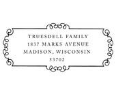 scroll frame rubber address stamp