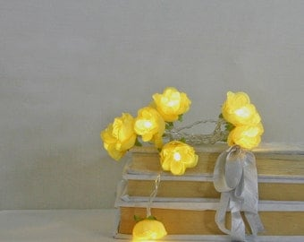 Sunny Yellow French Roses Fairy Lights Flower String Battery Lights Table Decor
