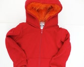 Toddler Monster Hoodie - Size 4T - Red with Orange - horned sweatshirt, custom jacket