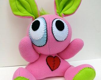 Rockin' Rabbit - Jumbo pink plush bunny with lime green mohawk