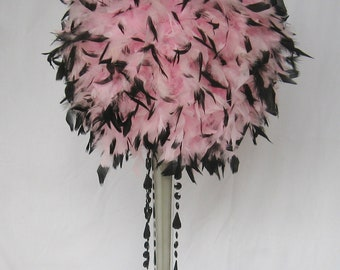 "14"" Feather Kissing Ball,centerpiece , baby pink, black tips, Flamingo, Alice in Wonderland"