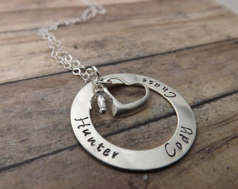 Mommy necklace-Handstamped-personalized-sterling silver necklace- washer-heart-crystal