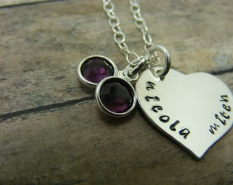 Sterling silver handstamped heart necklace