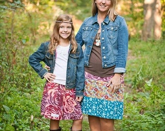 NEW Womens Strip A-line Skirt  Mom and daughter coordinating skirts