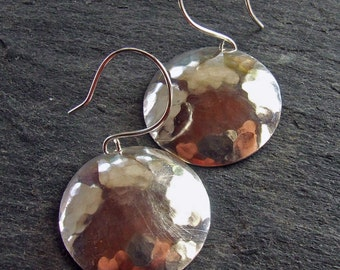 SEXY SATURN Hammered Sterling Silver Earrings, 1 inch Round Discs on Handmade Earwires