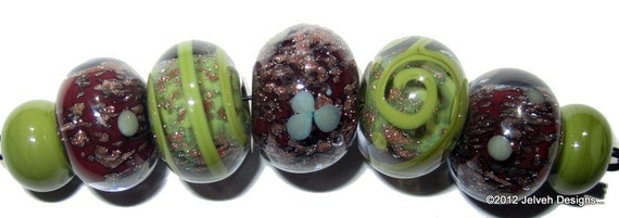 Reserved for Jessie...Olive Green Blood Red Goldstone,  Handmade Lampwork Glass Beads,