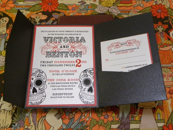 Day Of The Dead Wedding Invitations: Day Of The Dead Wedding Invitations Mexican Sugar By Citlali