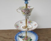blue forget-me-not 3 tier antique jewelry stand