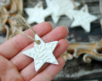 Star Christmas Ornaments . Set of 5 Handmade Clay Ornaments Rustic Ornaments for Christmas Tree . CoWorker Gift Christmas Gift for CoWorker