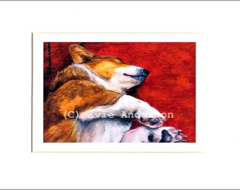 "Evie Anderson Pembroke Welsh Corgi Art SIGNED PRINT ""Grand Poobah""  (signed, matted)"