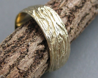 OAK 14 kt yellow GOLD wood grain ring faux bois Made to Order