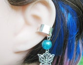 Blue and Silver Summer Butterfly Cartilage Ear Cuff Dangle