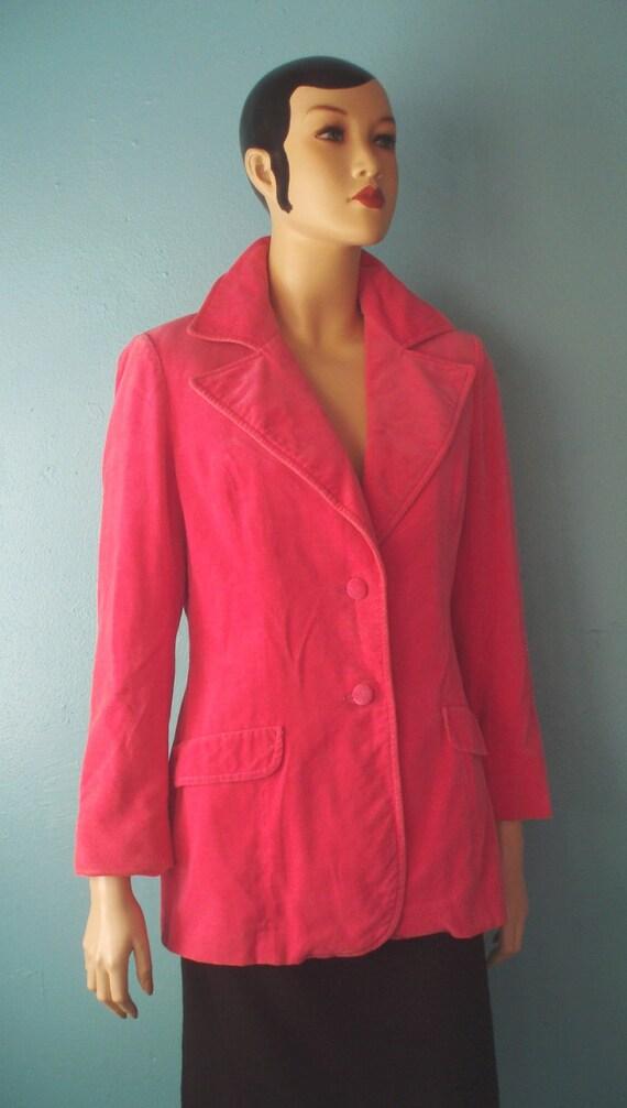 60s Hot Pink Velvet Blazer M L