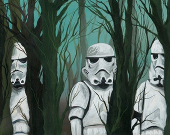SwampTroopin' - Digital Print 5.5 x17 of an Original Acrylic on Canvas Painting of Storm troopers in Swamp Like Forest Trees