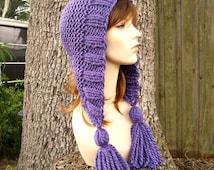 Knit Hat Womens Hat Knit Hood Ear Flap Hat - Tassel Hat in Violet Purple Knit Hat - Womens Accessories Winter Hat