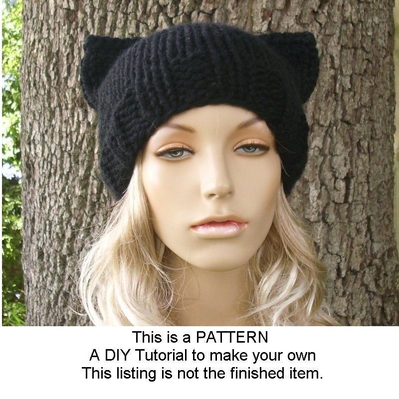 Cat Ear Hat Knitting Pattern Block